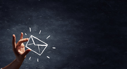mailing list drawn by hand isolated on blackboard