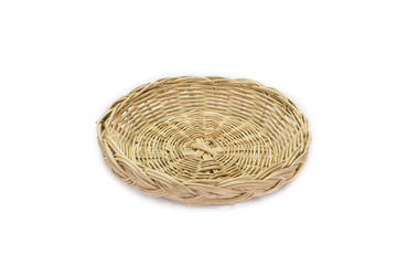 wicker basket on background