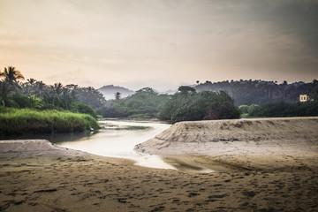 Sandy beach and lake in jungle