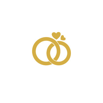 Wedding logo.Gold wedding rings.Stylized engagement rings.Vector logo for the wedding.Attributes and decoration wedding ceremony.The symbol of faith,love,care,happiness,mutual understanding,strength.