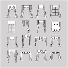 interior decoration. curtains. curtains Interior design sketch.