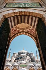 Ornate wooden doors of Suleymaniye Mosque, Istanbul, Turkey.