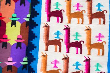 Close up peruvian fabric pattern