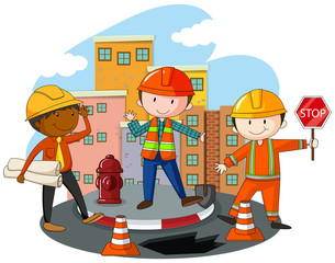 Construction workers at the construction site