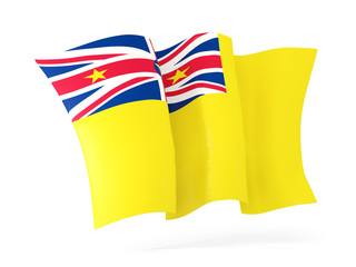 Waving flag of niue. 3D illustration
