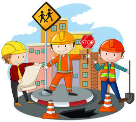 People working at the road construction