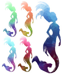 Low poly mermaids on white background. Polygonal mermaid, vector illustration.