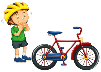 Boy wearing helmet before riding bike
