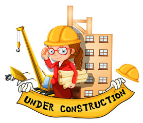 Female engineer and sign under construction