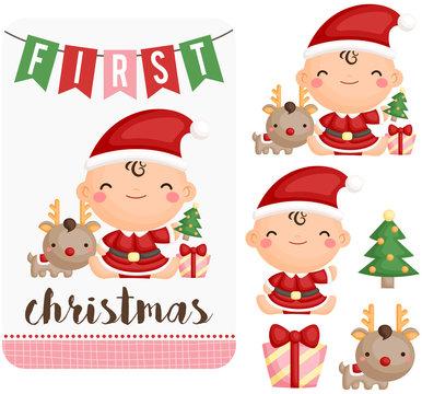 Baby Girl First Christmas Vector Set