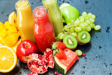 Red Green Orange Fruits Juices Smoothie Healhty