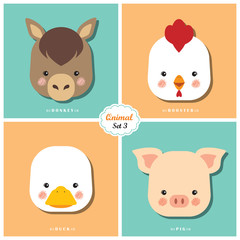 Qnimal means cute animal / Qnimal set 3: Donkey, Rooster, Duck and Pig / Set of cartoon animal heads icon.