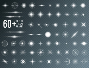 Large set of realistic lens flares star lights and glow white elements on transparent background. Vector illustration