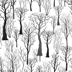Seamless background with silhouettes of trees. Vector illustrati