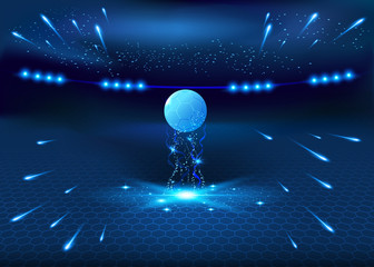 Soccer night stadium - abstract vector background