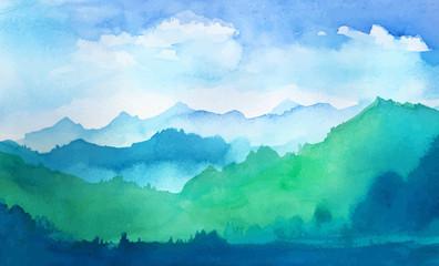 Obraz watercolor mountains - fototapety do salonu
