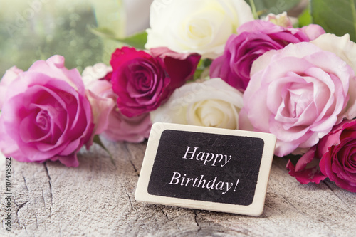 Happy Birthday Gratulation Card Greetings With White And Pink Roses Romantic Style