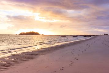 Fototapeta silhouette  sunrise at Sunrise beach  Lipe island , Satun, Thail