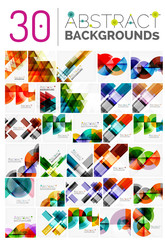 Collection of various abstract backgrounds, geometric style