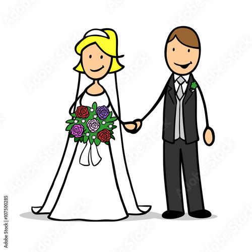Gluckliches Cartoon Paar Bei Der Hochzeit Stockfotos Und