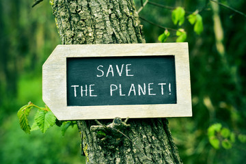 chalkboard with the text save the planet in a tree