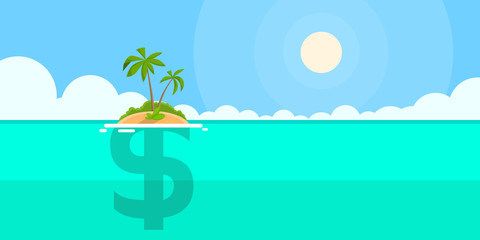 Dollar Sign Offshore Island Concept Flat
