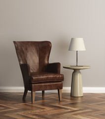 Leather armchair in grey interior with parquet floor