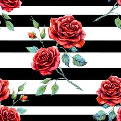 Watercolor rose pattern