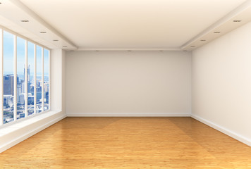 Empty room, panoramic windows and parquet floor in a spacious ro