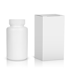 Medicine bottle on white background. White plastic bottle, cardb