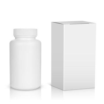 Medicine bottle on white background. White plastic bottle, cardb
