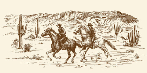 American wild west desert with cowboys - hand drawn illustration