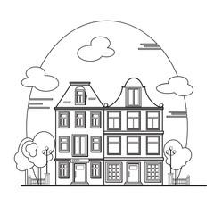 European cityscape. Amsterdam houses.