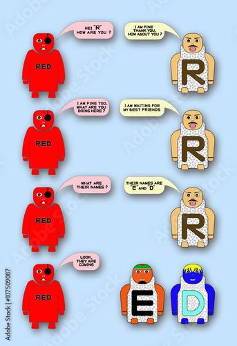 CARTOON CHARACTER OF LETTER R, LETTER E,LETTER D,ALPHABETICAL