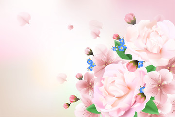 Blurred pastel background with flower petals.