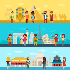 People travel around world, tourists looking and taking a picture of sights in famous world landmarks icons Egypt, Europe and Asia. Tourism and travel vector infographic elements. Banners flat set.