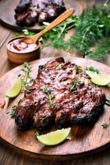 Cooked pork ribs