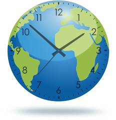 Planet Earth with clock face isolated on white