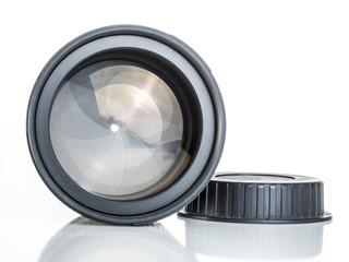 proffesional photography lens clearly showing the aperture blades or iris