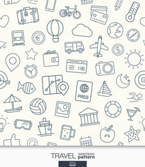 Travel wallpaper. Black and white trip seamless pattern. Tiling textures with thin line web icons set. Vector illustration. Abstract background for mobile app, website, presentation.