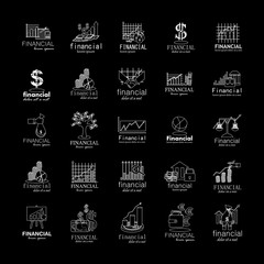 Financial Icons Set-Isolated On Black Background-Vector Illustration,Graphic Design.Collection Of Color Icons.Different Logotype Shape.Modern Logo