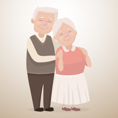 Vector illustration of a happy elderly couple