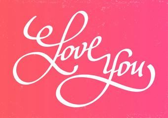 Inscription I love you on pink background.Vector Illustration