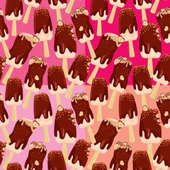 Set of seamless patterns with stick ice-cream bar with Chocolate