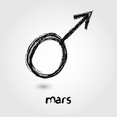 Vector Sketch  Mars Planet icons on the white background