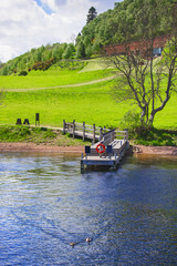 Pier in Loch Ness in Scotland