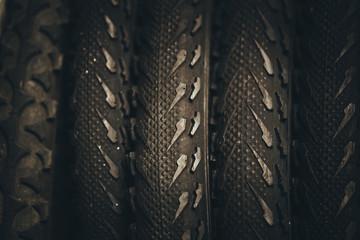 bicycle tires, old unused Mountain Bike tire.