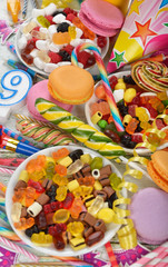 Colorful sweets and items for children's birthdays