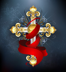 cross with a red ribbon