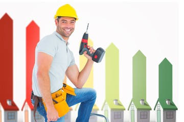 Composite image of confident handyman